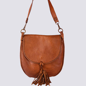Distressed Soft Leather Shoulder Bag with Tassel