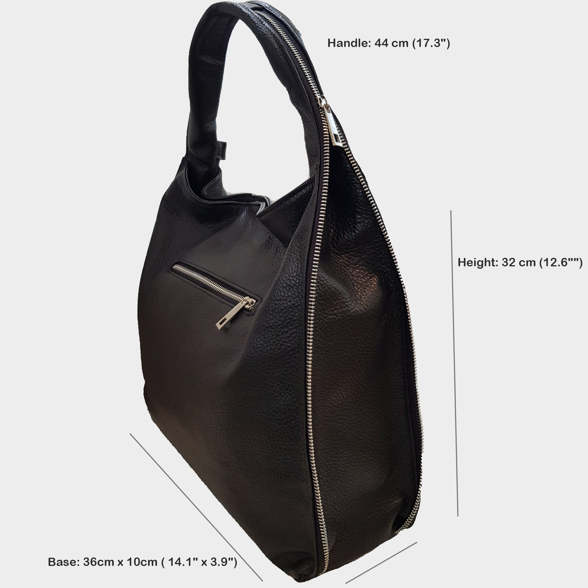 CLEARANCE One Left - Classic Hobo Bag With Side Zips