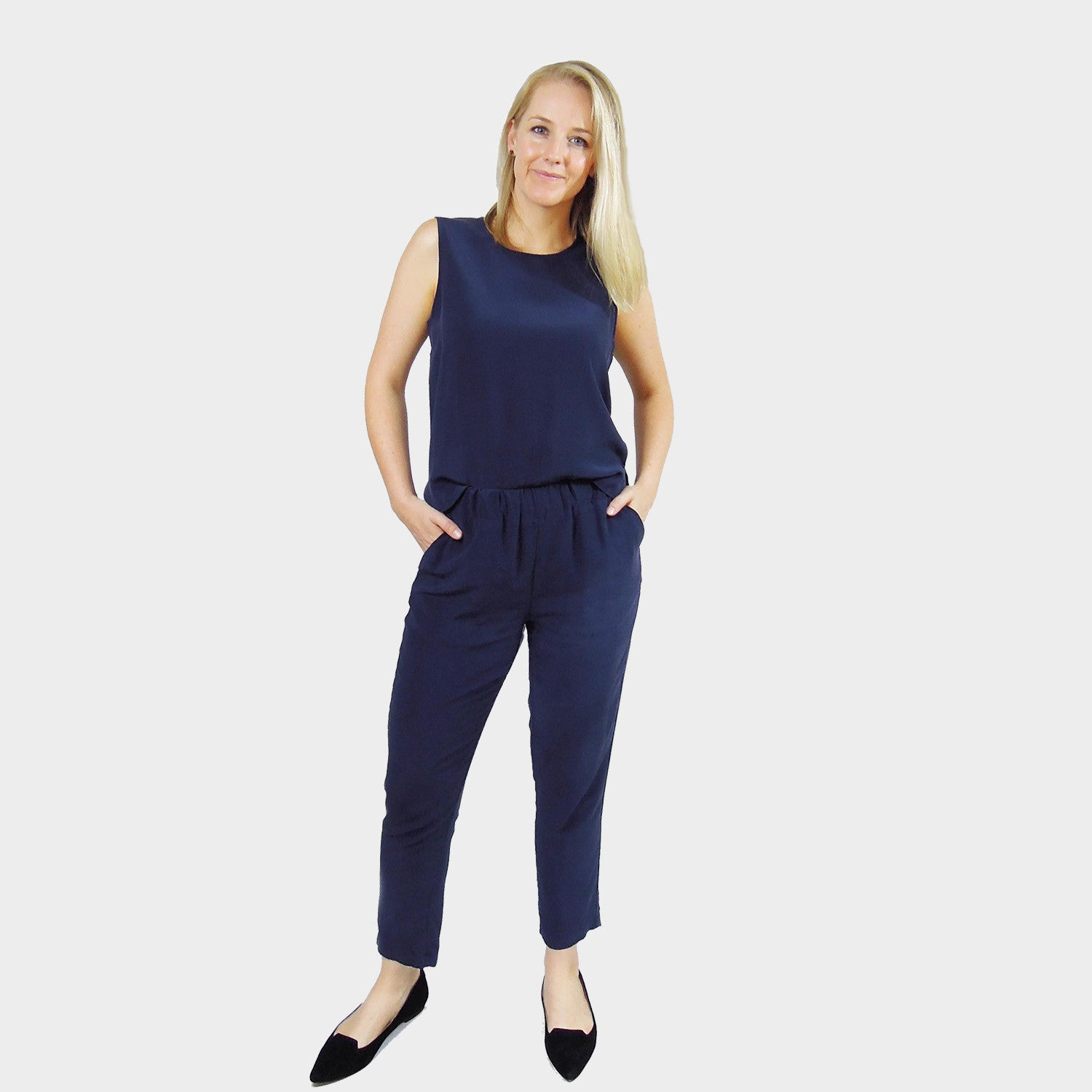 silk pants navy lined high waist ankle length