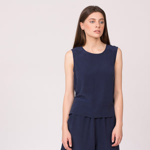 pure silk shell top sleeveless shirt navy