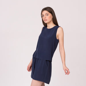 Silk navy shell top sleeveless shirt silk shorts