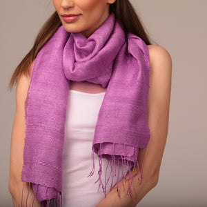 Raw Silk Scarf Orchid