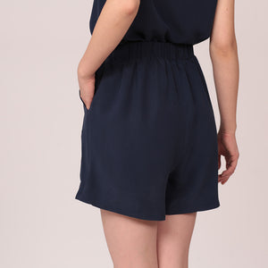 silk shorts navy high waist viscose lining