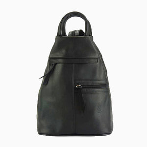 Soft Leather Sling Backpack with Zipper Pockets