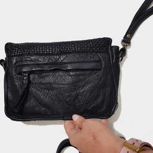 Small Black Woven Leather Crossbody