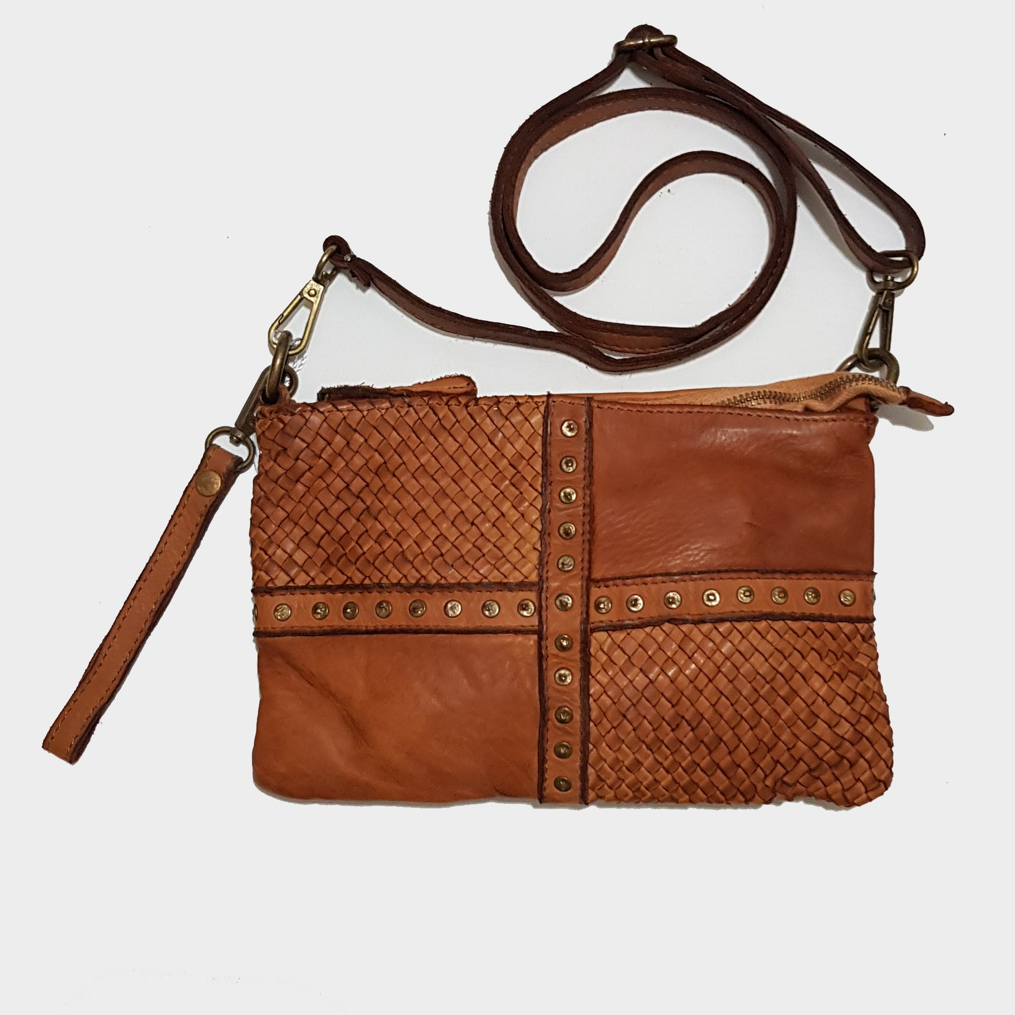 Small Distressed Woven Leather Crossbody Bag with Studs