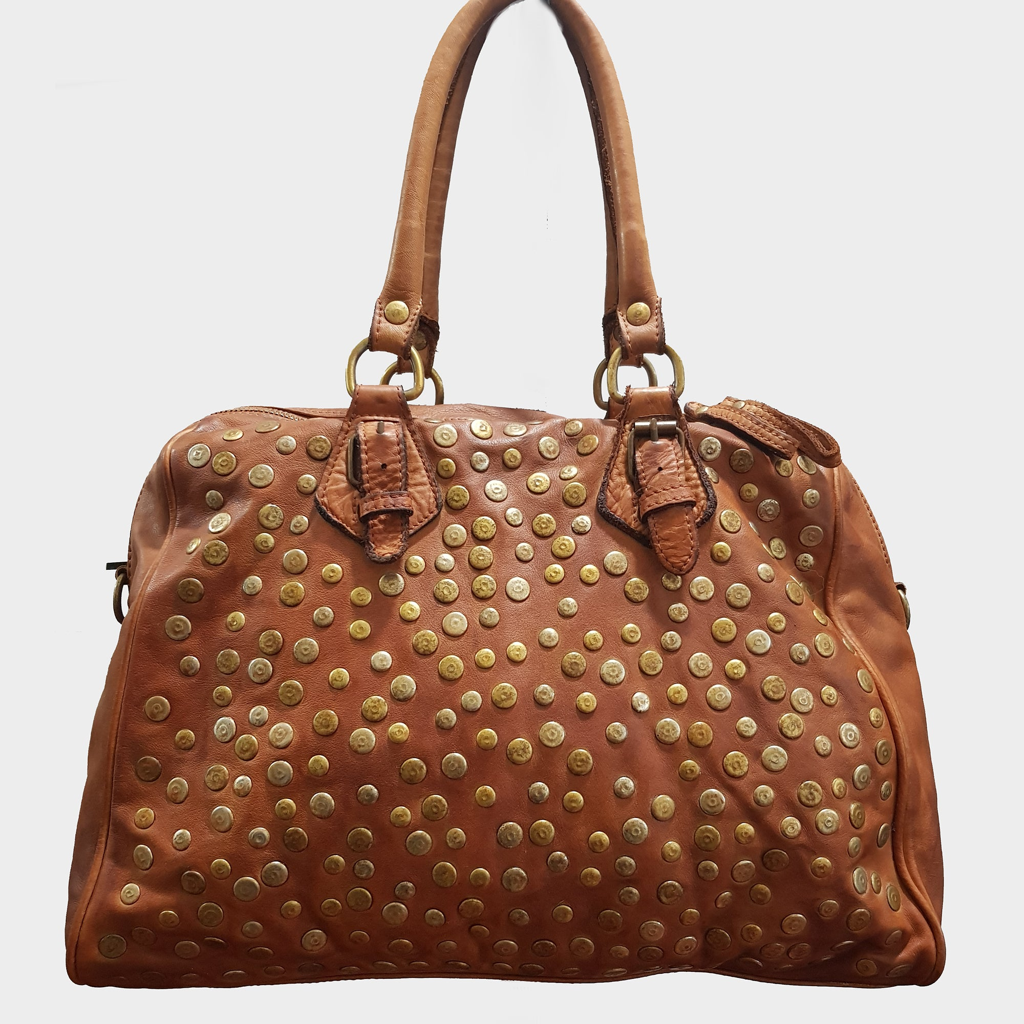 Studded Washed Leather Handbag / Shoulder Bag