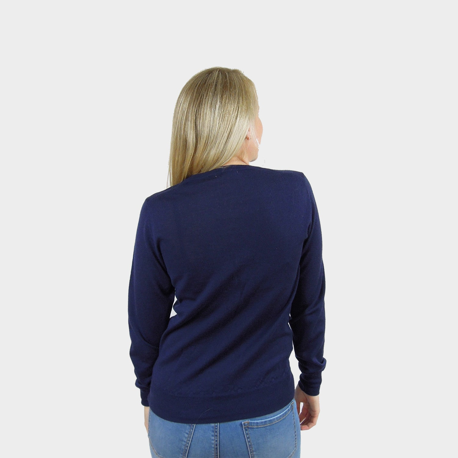 wool cardigan pure merino wool navy