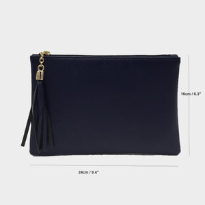 Black clutch shoulder bag Genuine Italian leather saffiano