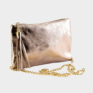 gold clutch shoulder bag Genuine Italian leather saffiano