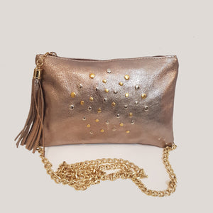 CLEARANCE One Left - Gold Tassel Clutch / Small Crossbody With Studs