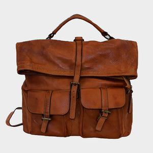 Convertible Brown Backpack Distressed Italian Leather