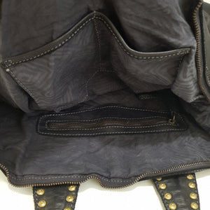 Washed Leather Handbag / Shoulder Bag with Studded Handles