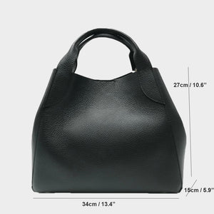 Black tote handbag Genuine Italian leather 2 in 1