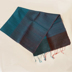 Cambodian raw Silk Scarf Turquoise