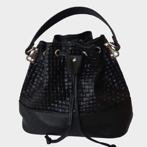 Black bucket handbag Genuine Italian leather weave