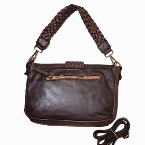 Mocca Washed Leather Bag With Woven Details