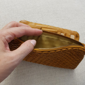 Woven Yellow Leather Wallet