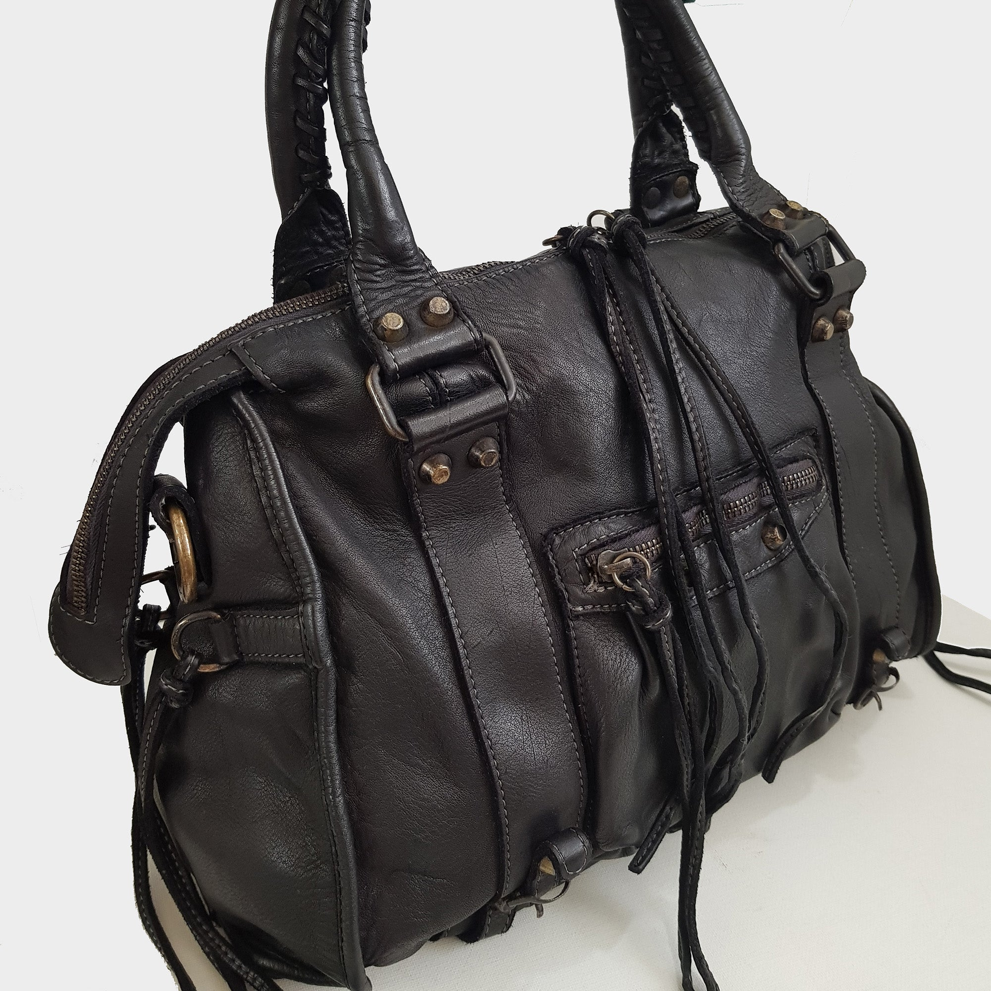 Distressed Leather City Bag