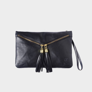 black Italian leather cross body bag wrist bag clutch