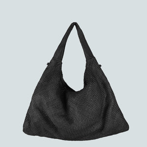 Woven Leather Bag With Smooth Leather Handle
