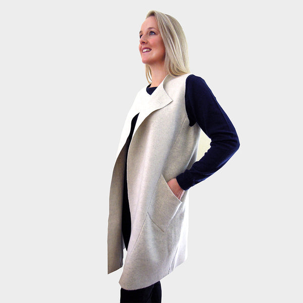 long sleeveless cardigan jacket cream boiled merino wool
