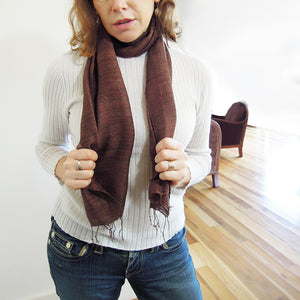vietnam raw silk scarf brown