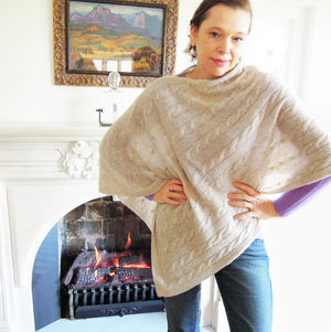 Pure cashmere beige cable knit poncho