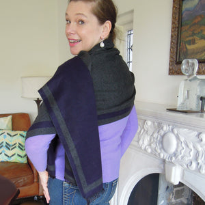 Cashmere Wrap navy grey gray