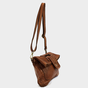 Washed Leather Cut-Thru Handle Bag