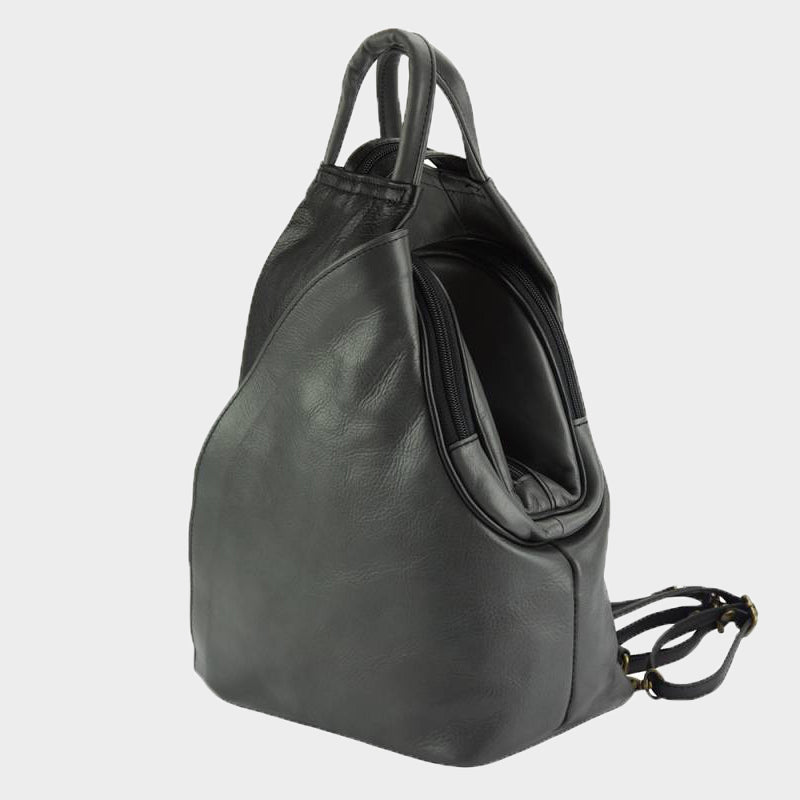 black Italian leather backpack convertible to shoulder bag