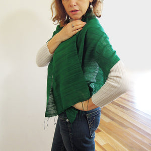 Vietnam raw silk scarf green