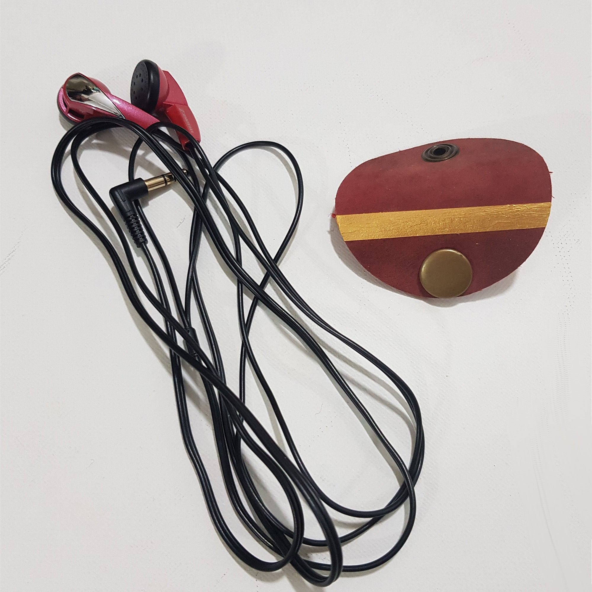Set of 2 Leather Headphone Holder / Cable Organiser Personalised & Handcrafted