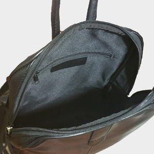 genuine leather backpack black brown