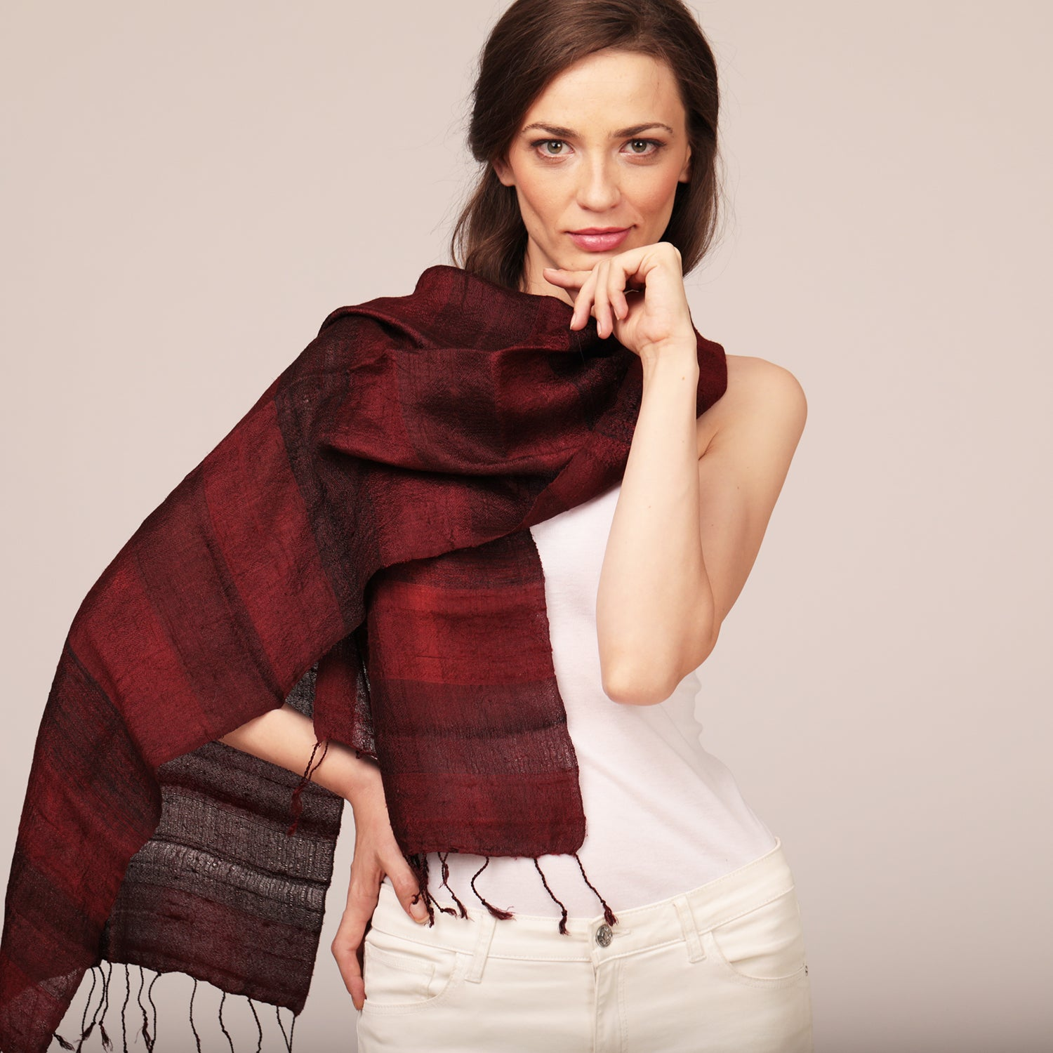 Raw Silk Scarf Mulberry
