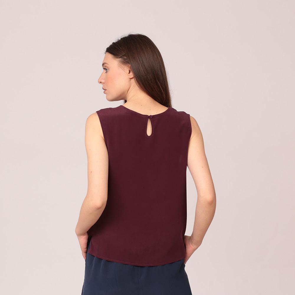 pure silk top shirt sleeveless maroon mulberry