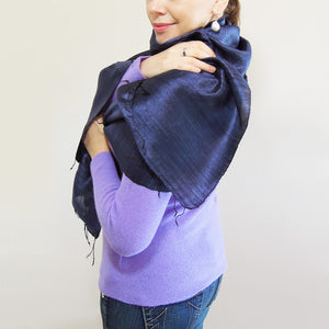 Cambodian raw Silk Scarf navy blue