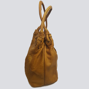 Distressed Woven Leather Bag