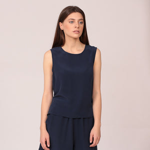 pure silk top shirt sleeveless navy