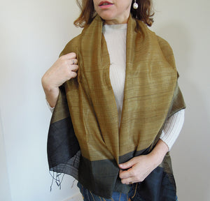 Cambodian raw Silk Scarf old gold and black