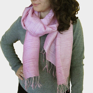 Pink Raw Silk Thai Scarf