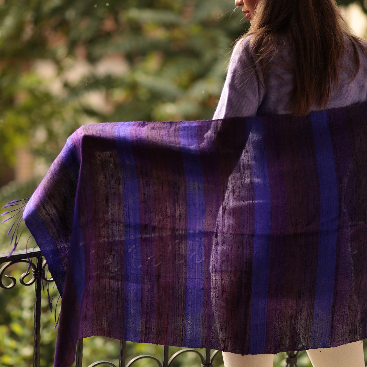 Raw Silk Scarf Purple Shades