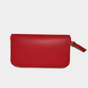 Red Structured Leather Zipped Wallet