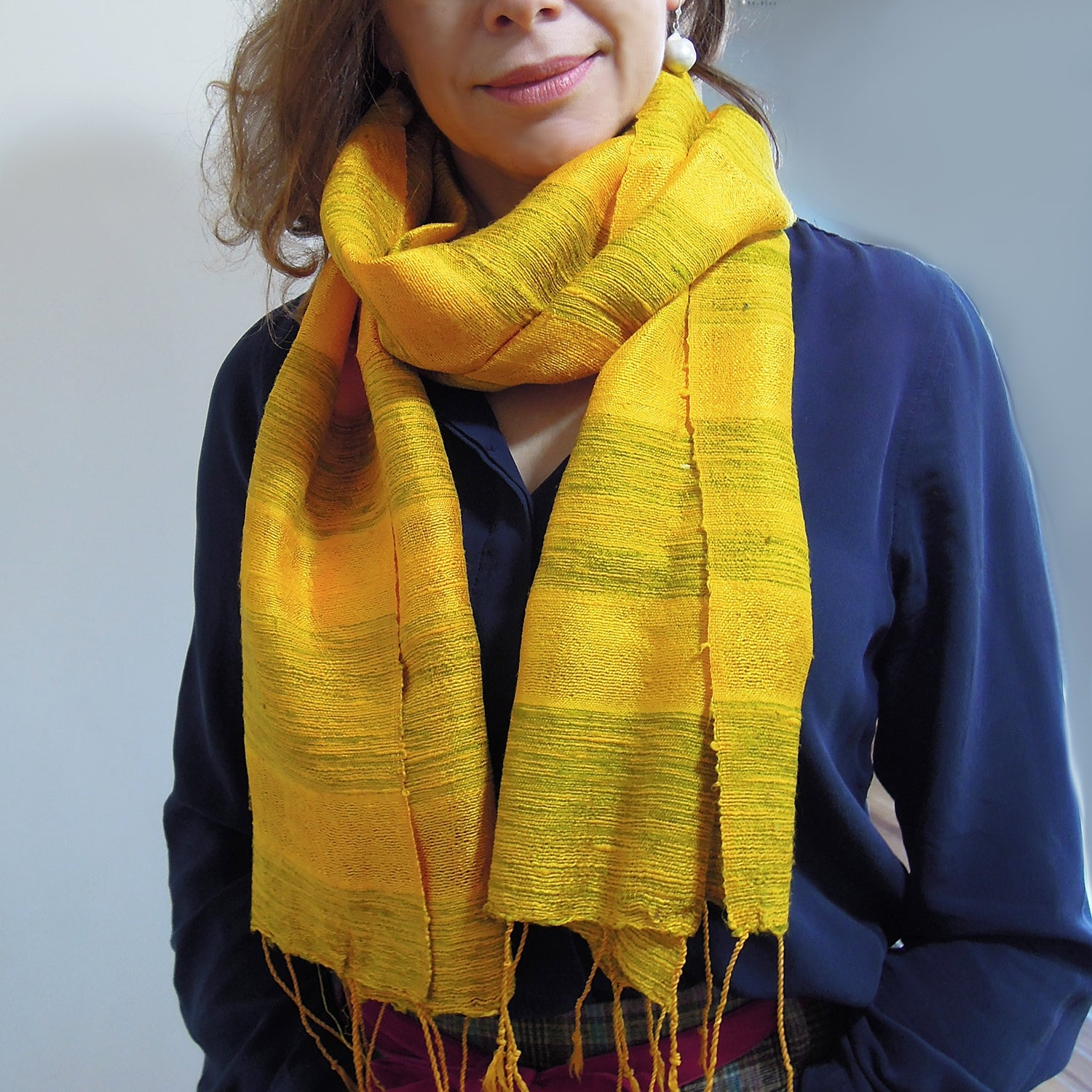 raw silk scarf yellow from Vietnam