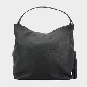 black leather hobo bag tassel made in Italy