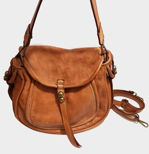 Distressed Leather Teardrop Shoulder Bag