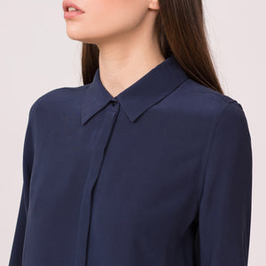 classic shirt pure silk long sleeve navy