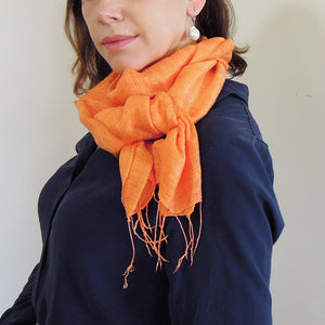 Vietnamese raw silk scarf orange
