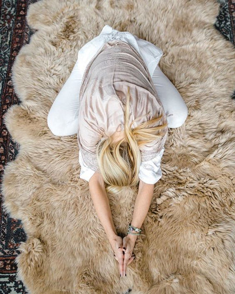 Don't do yoga on a dyed, mass-farmed sheepskin. Period! Choose organic and small farmed