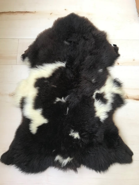 Plush Black and White Sheepskin
